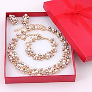 18K Gold Plated With Imitation Pearl Jewelry Sets(Including Necklace, Earring, Bracelet)