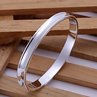 Fashion Round Shape Silver Plated Copper Bangle Bracelets For Mens(Sliver)(1Pc)