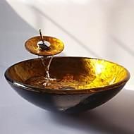 giro d'oro in vetro temperato nave lavello con rubinetto cascata, pop - up di scarico e anello di montaggio