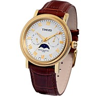 Time100 Men's Fashion Round Dial Leather Strap Rack Moon Phase Waterproof Men Quartz Watch (Assorted Colors)