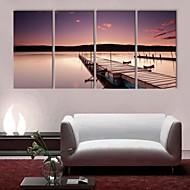e-Home® gespannen doek zijt de oever van de rivier landschap decoratief schilderen set van 4