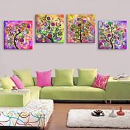 e-home® strukket lerret kunst abstrakt tre lys innredning maleri sett av 4
