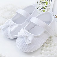 Jente Baby Flate sko Tekstil Vår Høst Avslappet Formell Sløyfe Flat hæl Hvit Rosa Flat