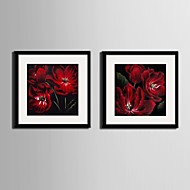 Blumenmuster/Botanisch Gerahmtes Leinenbild / Gerahmtes Set Wall Art,PVC Schwarz Passpartout inklusive Mit Feld Wall Art