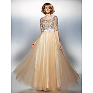 TS Couture® Dress Plus Size / Petite A-line Scoop Floor-length Tulle / Sequined with Beading / Bow(s)