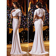 동창회 트럼펫 / 인어 웨딩 드레스 - 니트 흰색 청소 / 브러쉬 기차 보석