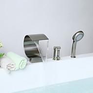 עכשווי מקלחת ואמבטיה מפל / שפורפרת יד כלולה with  שסתום קרמי חורים שלוש ידית אחת for  ניקל מוברש , ברז לאמבטיה