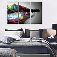 E-HOME® Stretched Canvas Art Lips Decoration Painting  Set of 3
