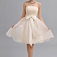 Knee-length Chiffon Bridesmaid Dress - Champagne A-line Sweetheart
