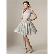 Homecoming Knee-length Lace Bridesmaid Dress - Silver A-line/Princess Jewel