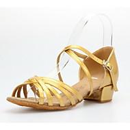 Non Customizable Women's/Kids' Dance Shoes Latin/Ballroom Leatherette Low Heel Gold/Gray