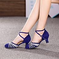 Non Customizable Women's Dance Shoes Latin/Modern Suede Cuban Heel Silver/Gold