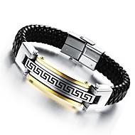 mænds armbånd 24 k Greatwall kernelæder vævet titanium stål smykker