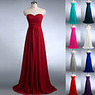 Floor-length Chiffon Bridesmaid Dress - Burgundy / Fuchsia / Dark Green / Regency / Silver / White / Royal Blue / Pool / Jade A-line