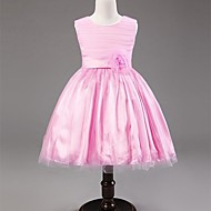 A-line/Princess Tea-length Flower Girl Dress - Satin/Tulle Sleeveless