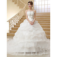 Ball Gown Strapless Organza Chapel Train Wedding Dress