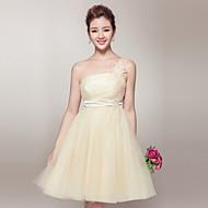 A-line Strapless Short/Mini Organza Bridesmaid Dress