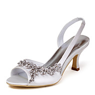 Satin Upper Mid Heel Strappy Sandals Wedding Bridal Shoes Select The Same Size Up And Down(More Colors)