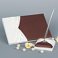 elegant bryllup gjestebok med bånd bue skilt i boken