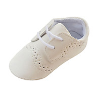 Boy's Flats Spring Fall Winter First Walkers Crib Shoes Leatherette Casual Flat Heel Lace-up Brown White
