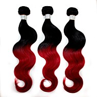 "top 100g qualité / emballer brésilien vague de corps extension de cheveux 1b / cheveux ombre rouge tisser 12 ""-24"""