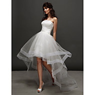 Lan Ting Ball Gown Wedding Dress - Ivory Asymmetrical Strapless Tulle