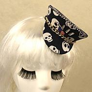 Black Skull Pattern Gothic Style Mini Hat Women's Carnival Headpiece
