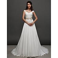 A 라인을 lanting | 공주 스트랩 채플 기차 쉬폰 웨딩 드레스 (2448985)