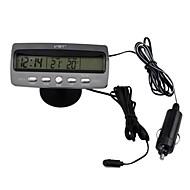Cigar Lighter Black Multi-fonction Car Digital Clock with Thermometer and Automotive Voltmeter/Calendar(12V)