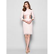 Lanting Bride® Sheath / Column Plus Size / Petite Mother of the Bride Dress Knee-length 3/4 Length Sleeve Chiffon withSash / Ribbon /