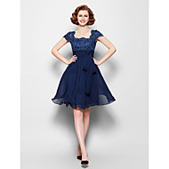 Lanting A-line Plus Sizes / Petite Mother of the Bride Dress - Dark Navy Knee-length Short Sleeve Chiffon / Lace
