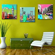 e-Home® allungata tela arte famosi edifici in Europa decorazione pittura set di 3