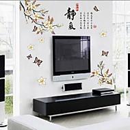 etiqueta de la pared removible en forma de flor de durazno estilo chino