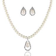 Takı Seti Kadın's Yıldönümü / Düğün / Nişan / Doğumgünü / Hediye / Günlük / Özel Anlar Mücevher Setleri alaşım İnci Kolyeler / Kolczyki