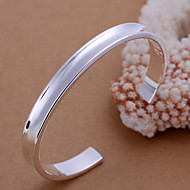 European Style Round Shape Silver Plated Copper Opening Litter Bangle Bracelets(Sliver)(1Pc)