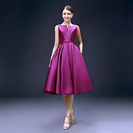 Cocktail Party Dress A-line Bateau Knee-length Satin with Pockets