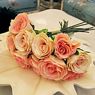 A Bouquet of 7 Silk Cloth Simulation Roses Wedding Bouquet Wedding Bride Holding Flowers,Champagne