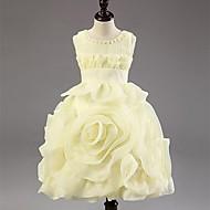 A-line/Princess Tea-length Flower Girl Dress - Chiffon/Polyester Sleeveless
