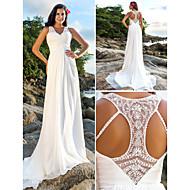 Lan Ting Sheath/Column Plus Sizes Wedding Dress - Ivory Court Train V-neck Chiffon