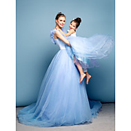 Formal Evening Dress - Sky Blue Plus Sizes / Petite Ball Gown Off-the-shoulder Chapel Train Satin / Tulle