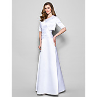 Lanting A-line Plus Sizes / Petite Mother of the Bride Dress - White Floor-length Half Sleeve Satin