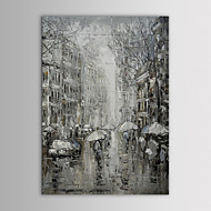 IARTS Oil Painting Modern Landscape Black And White Pairs Rainning Street Hand Painted Canvas with Stretched Frame