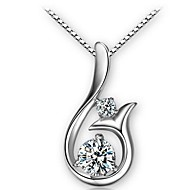 Mermaid Ladies'/Women's Sterling Silver Necklace With Cubic Zirconia
