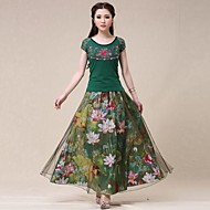 Women's Green Skirts , Print Maxi