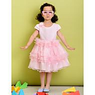 꽃의 소녀 드레스 - A라인 짧은 소매 무릎길이 폴리에스터