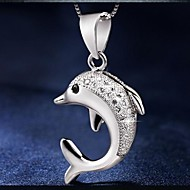 Dolphin Love Ladies'/Women's Sterling Silver Necklace With Cubic Zirconia
