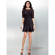 Homecoming Cocktail Party Dress - Black Sheath/Column Jewel Short/Mini Lace