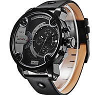 WEIDE WH3301 Men's Sports Black Dial Genuine Leather Strap Waterproofed Oversize Quartz Wristwatch