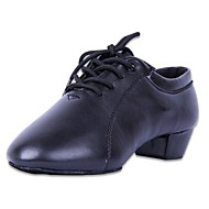 Latin Men's/kids' Heels Chunky Heel Leather Lace-ups Dance Shoes