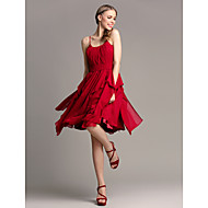 Lanting Bride® Knee-length Chiffon Bridesmaid Dress A-line Spaghetti Straps Plus Size / Petite with Cascading Ruffles